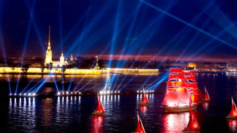 """Celebration """"Scarlet Sails"""" salute from the ship (by guest. Moscow)"""