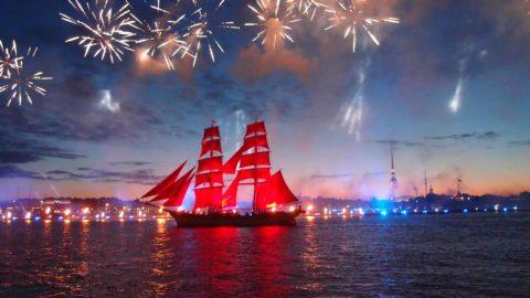 "Celebration ""Scarlet Sails"" Snowstorm on the boat"